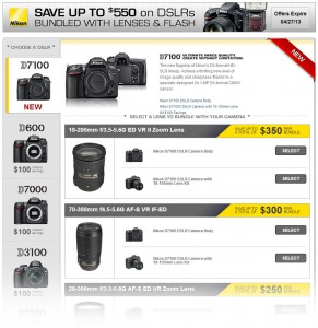 Nikon D7100 lens bundle promotion